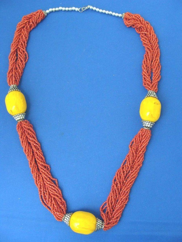 """Nepalese Beeswax & Coral Beads Necklace 28"""" Long"""