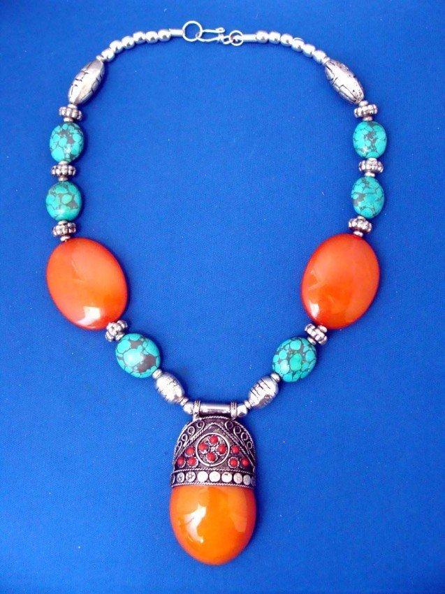 Nepalese Necklace Orange Beeswax Pendant Center