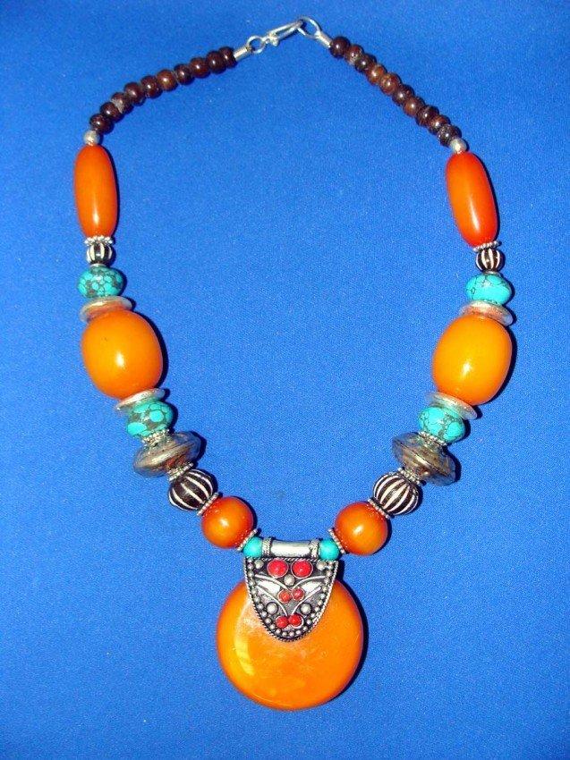 "Nepalese Necklace Orange and Turquoise stones 19"" Long"