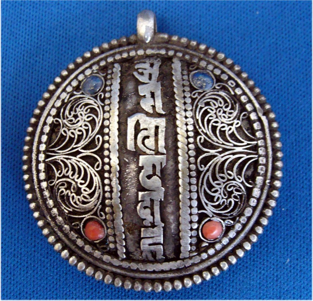 Nepal Turquoise & Coral Nickel Silver Character Pendant