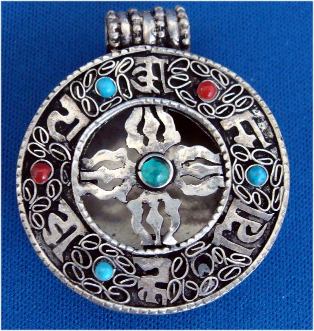 Nepal Turquoise & Coral Nickel Silver Gau Pendant