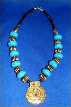 Nepal Turquoise & Nickel Silver Beaded Necklace W Penda