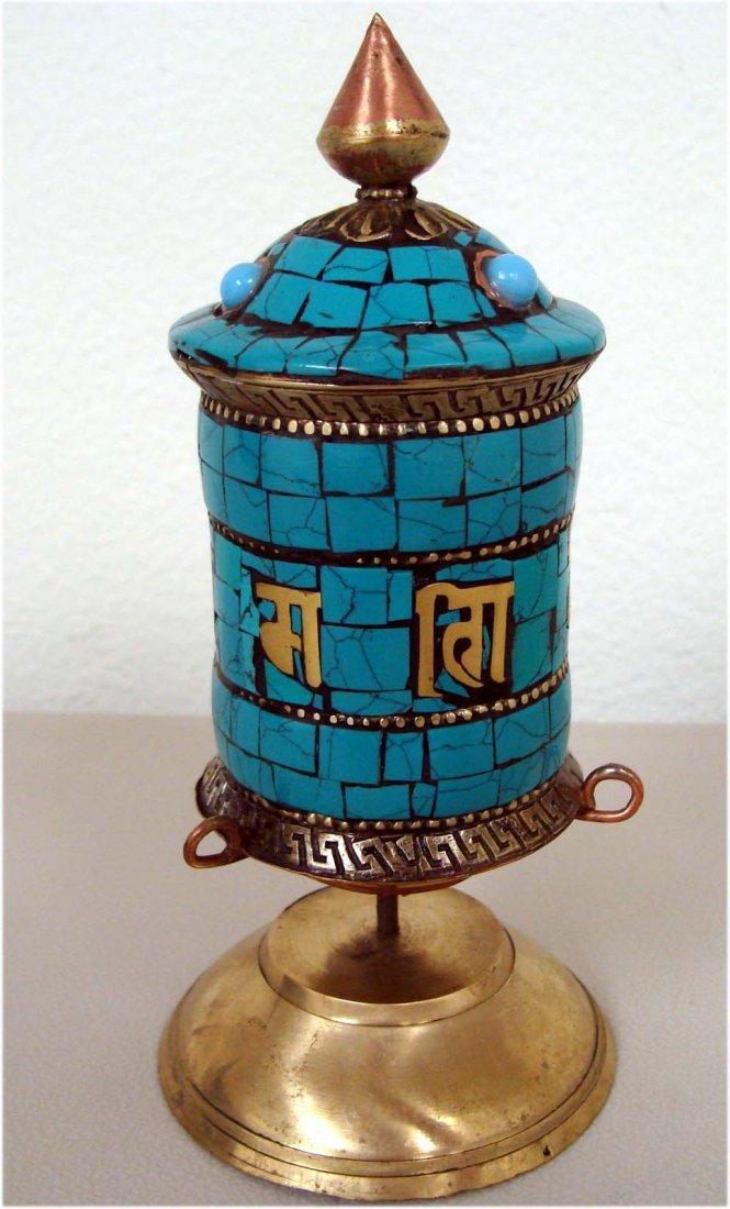 Tibetan Buddhist Ceremonial Turquoise Table Prayer Whee