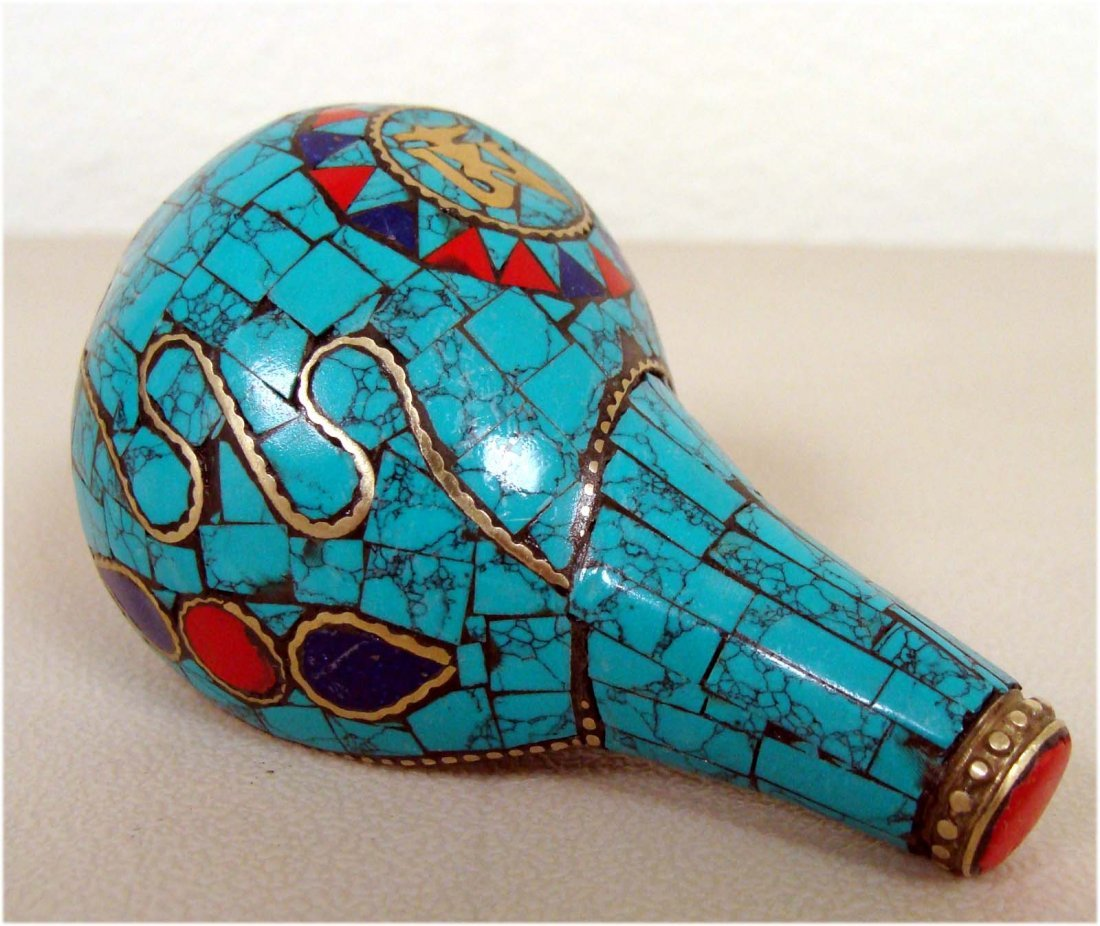 Nepalese Ritual Conch Shell Inlaid Turquoise Lapis
