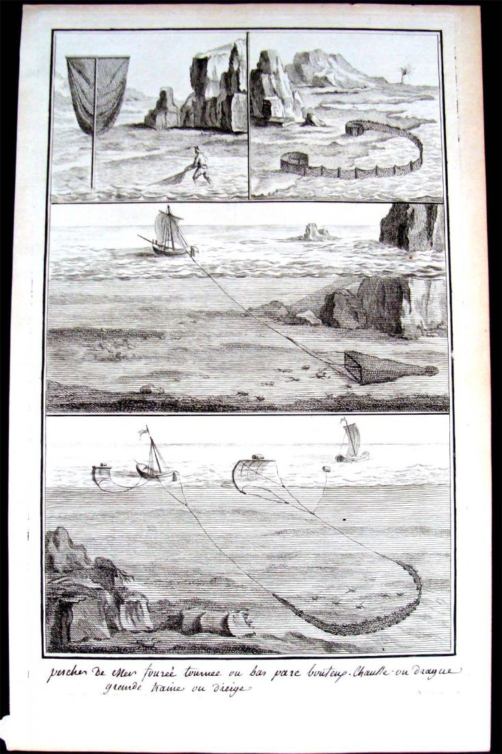 Fishing Copper Plate Etching from 1760