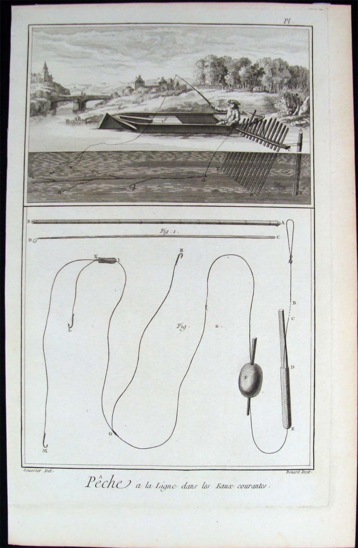 """1760 """"Fishing"""" Copper Plate Etching Encyclopedia Plate"""