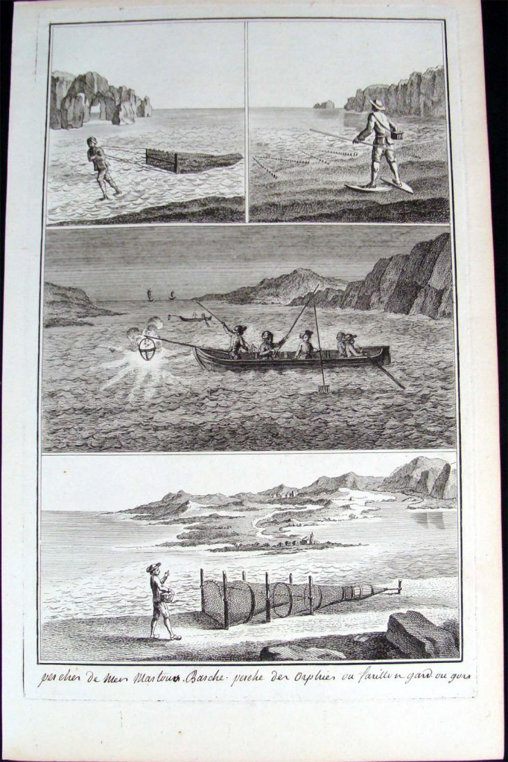 """Fishing 1760 Copper Plate Etching """"Encyclopedia Plate""""."""