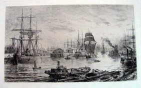 19th Century British Harbor Engraving Signed