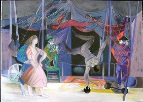 Acrobat Circus Scene Lithograph C 1980 Signed Krane