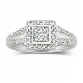 Sterling Silver Diamond Ring .25 CTW 1/4 Carat