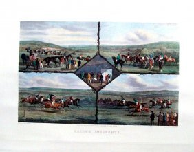 """Racing Incidents Hand Colored Engraving 1940 25"""" X 31"""""""