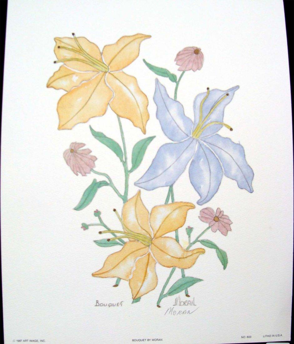 """Color Lithograph """"Bouquet"""" by Moran 1987"""
