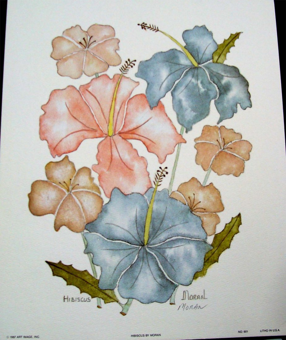 """""""Hibiscus"""" by Moran 1987 Color Lithograph 8.5"""" X 10.5"""""""