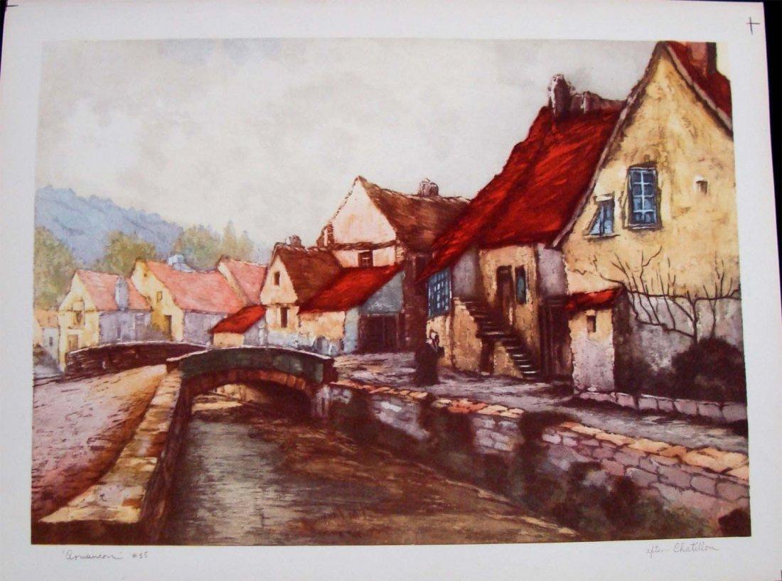 "1945 Color Lithograph after Chatillon ""Armancon #55"""