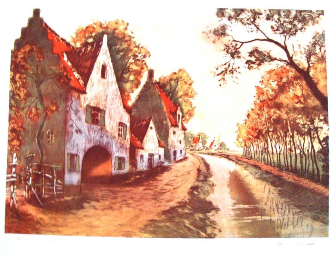 "1945 Color Lithograph after Delormel ""Canal en Flanders"