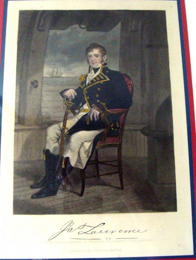 1860 Color Engraving Portrait of Laurence War of 1812
