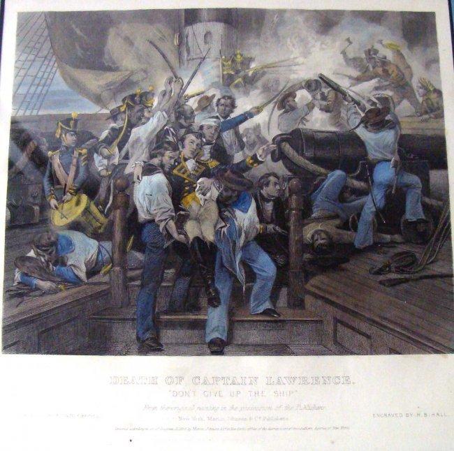 1860 Antique Litho Death of Captain Laurence war 1812