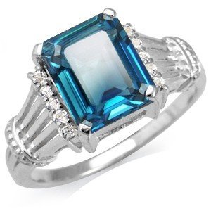 3.58ct Natural London Blue & White Topaz Sterling Ring