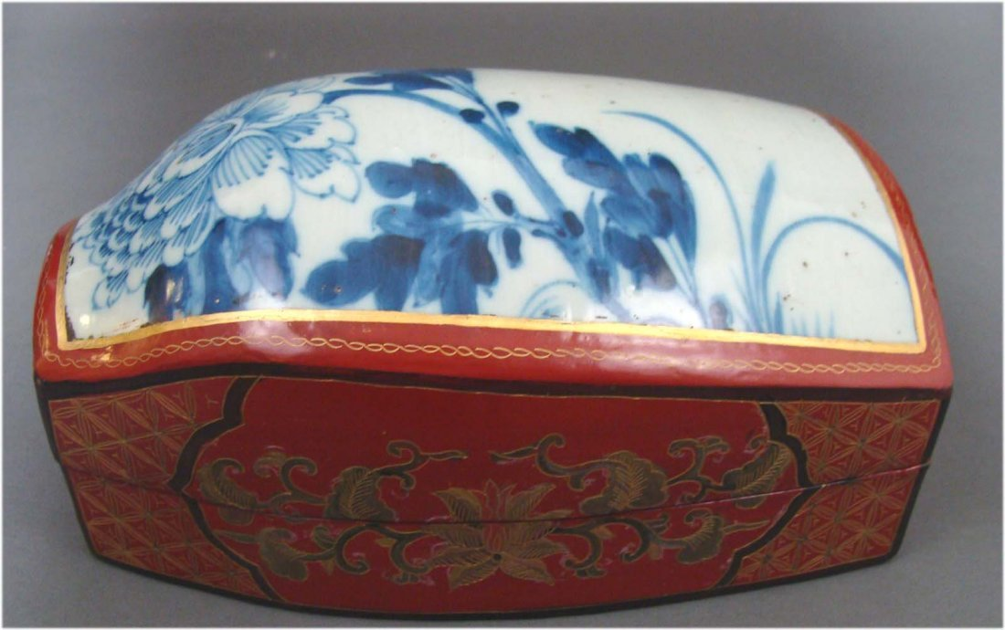Chinese Box Porcelain Lacquer Wood Handpainted Floral