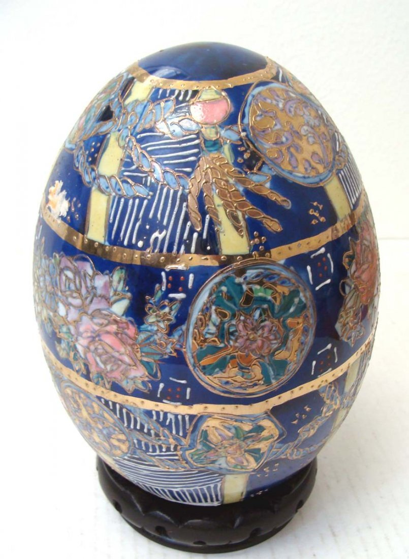 Chinese Blue Gold Porcelain Enameled Egg Floral Design