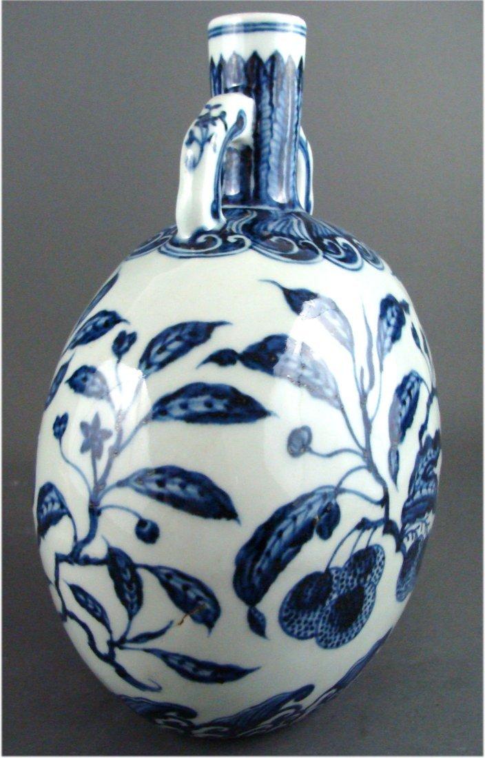 Antique Chinese Porcelain Handled Fruit Moon Flask - 4