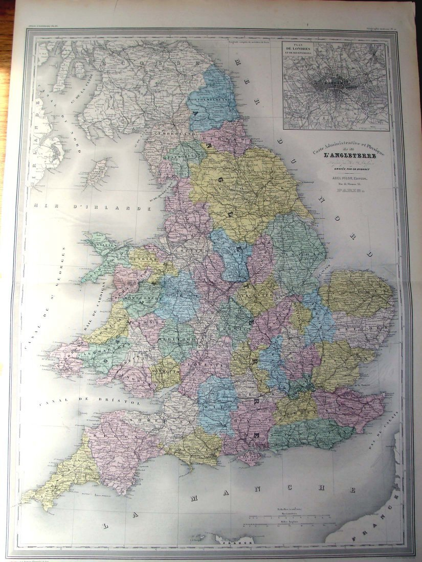 1860 Large Dufour Hand Colored Map of England