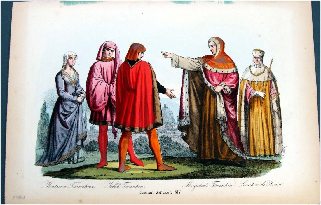 Hand Colored 19th Century Engraving Costumes 14th Cent