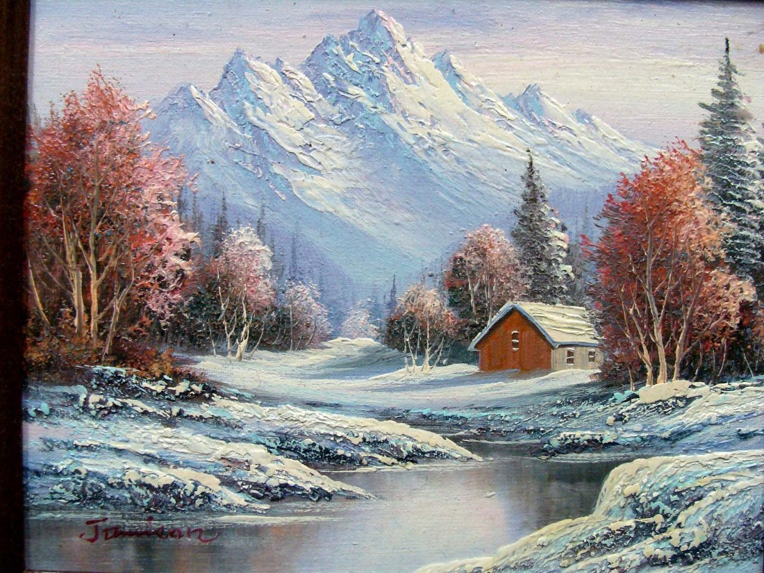 3030: Snowy Mountain Oil painting by Jamison - 2
