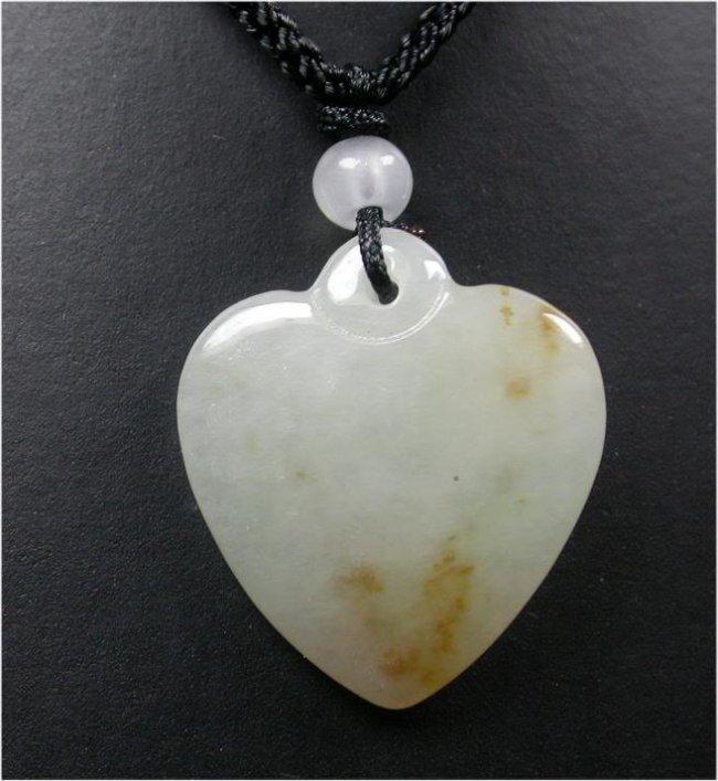 Natural A JADE JADEITE PENDANT Love Heart
