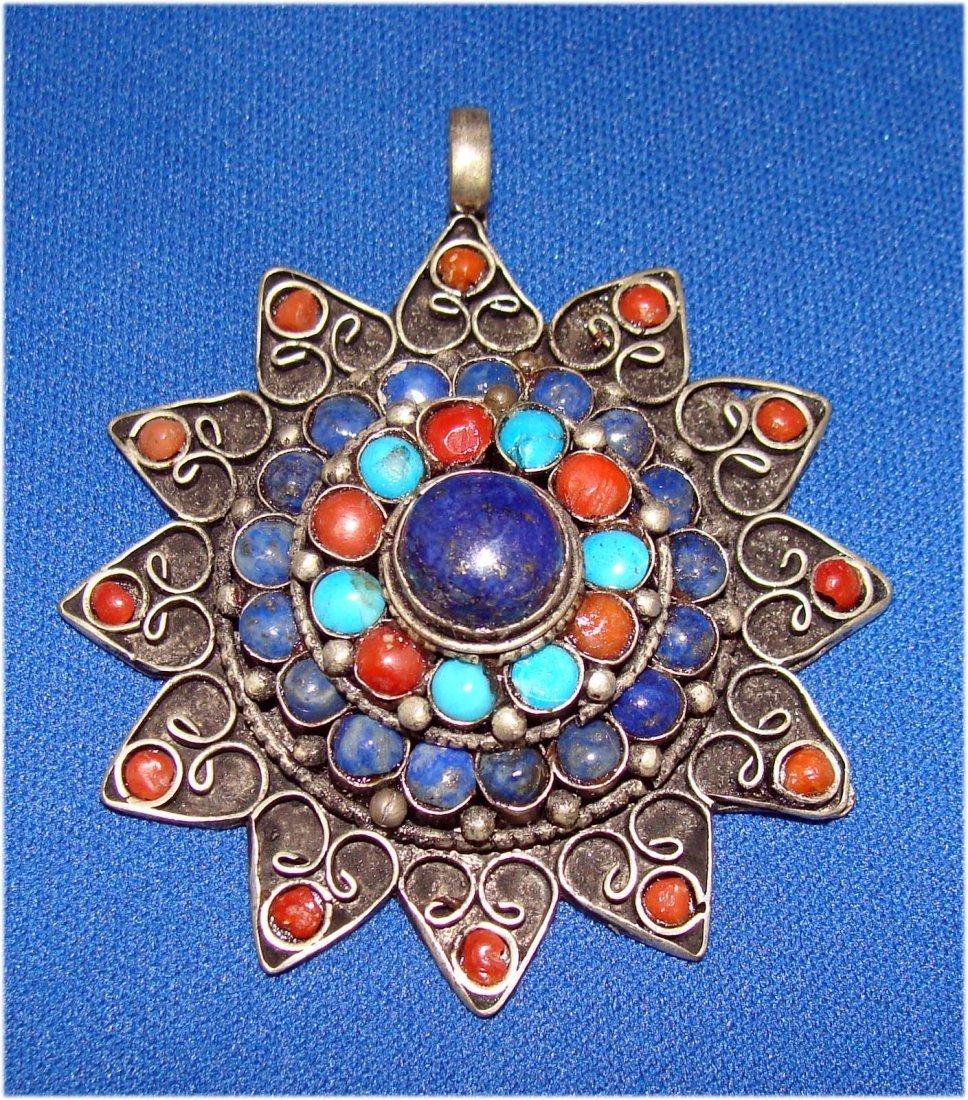 Nepal Turquoise Coral & lapis Nickel Silver Star Pendan