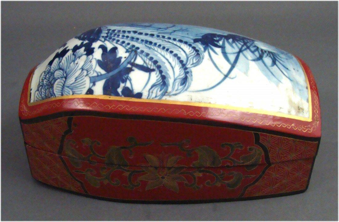 Chinese Porcelain Wood Enameled Large Jewelry Box