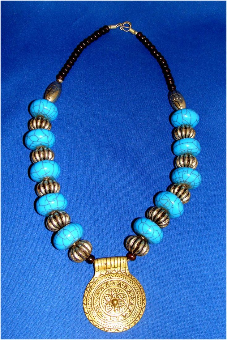 Nepal Turquoise & Nickel Silver Beaded Necklace w Penda