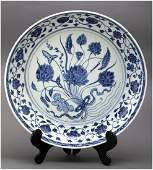 Antique Chinese Lotus Floral Blue White Plate