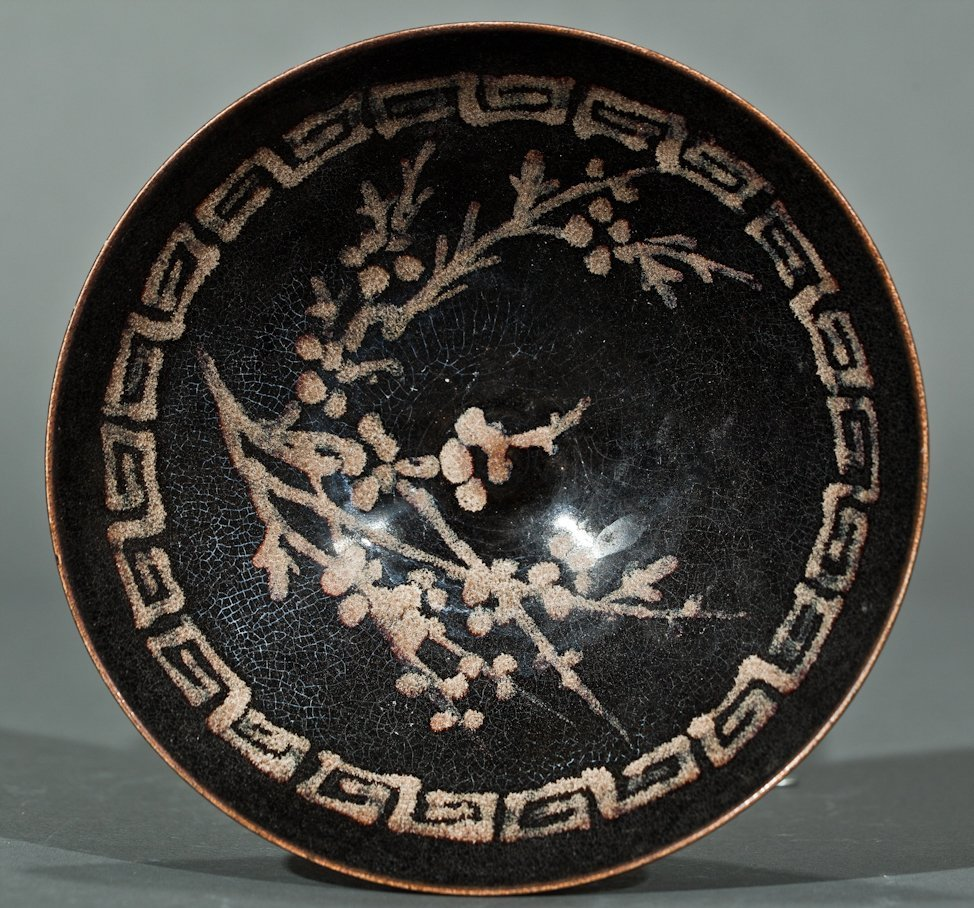 Chinese Song Like Black Pottery Bowl Floral Design