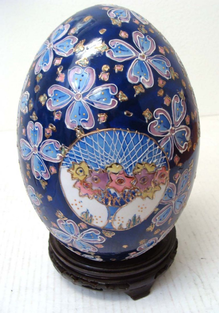Chinese Blue Porcelain Enameled Egg Flower Design