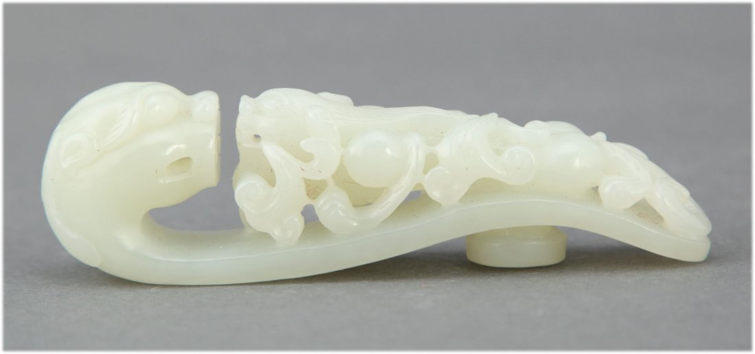 Chinese carved hetian white Jade Belt Hook