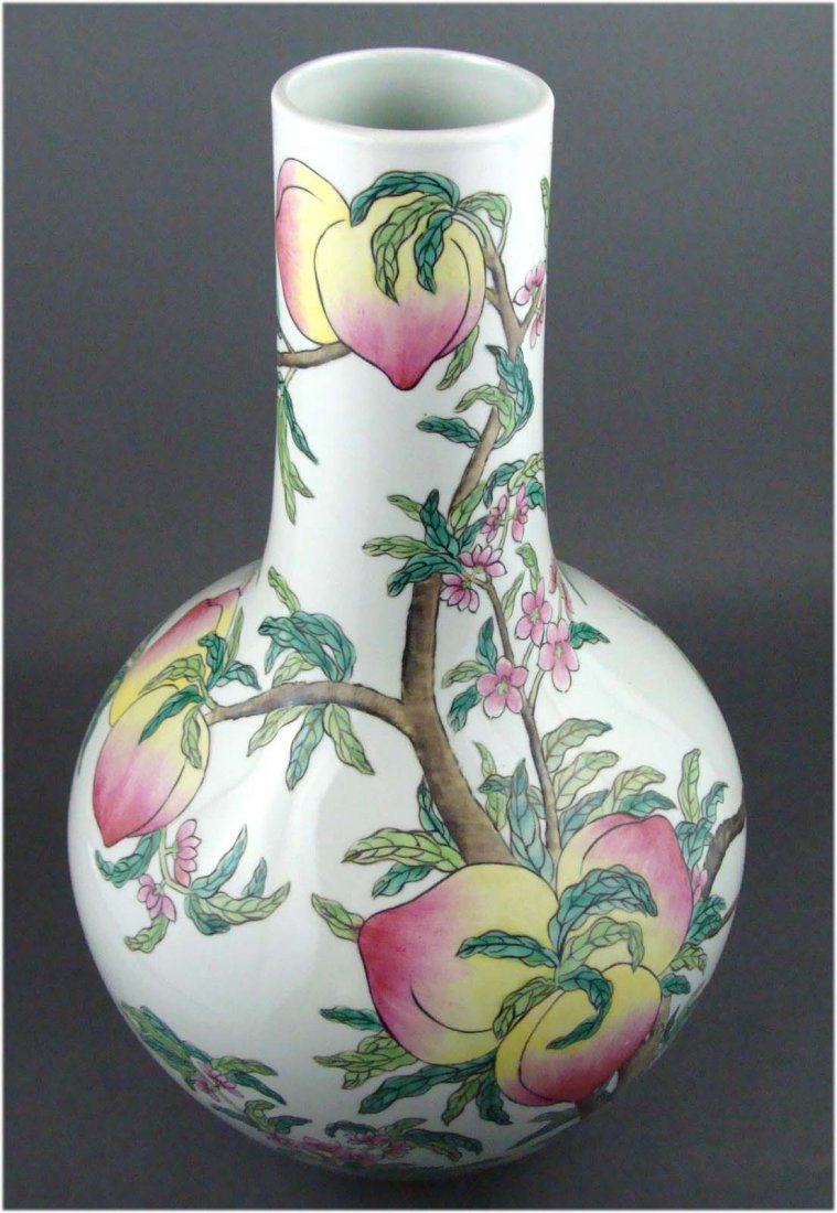 Antique Porcelain Chinese Vase Peach Tree