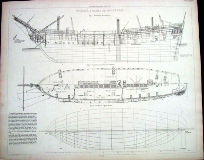 Schematic Plans For 1785 Ship Vaisseau A Rames Environ