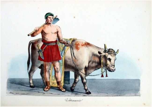 Costume study with Bull 19th Cent Hand Colored Engravin