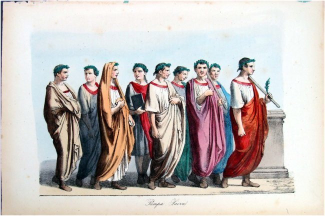 Hand Colored 19th C Costume study Italy Togas