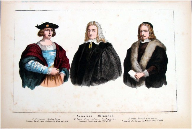 Hand Colored 19th C Costume study Milanese Senators