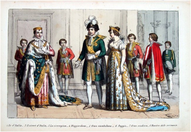 Italian Royalty Costume 19th C Hand Colored Engraving