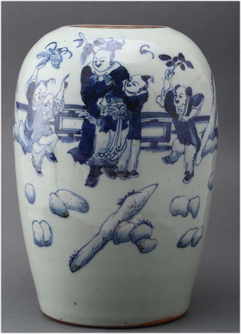 Chinese blue & white porcelain jar Depicting a warrior