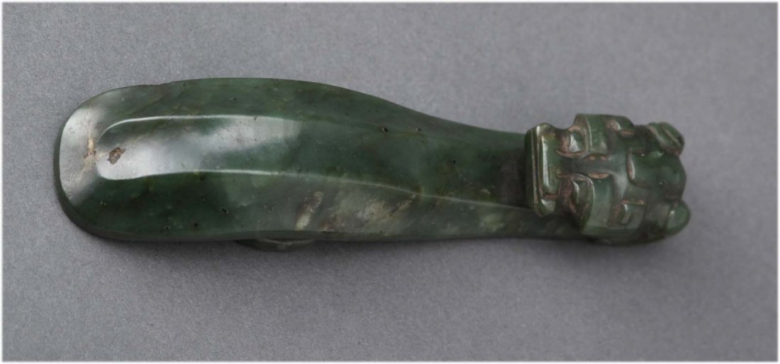 Chinese antique carved spinach green jade belt buckle