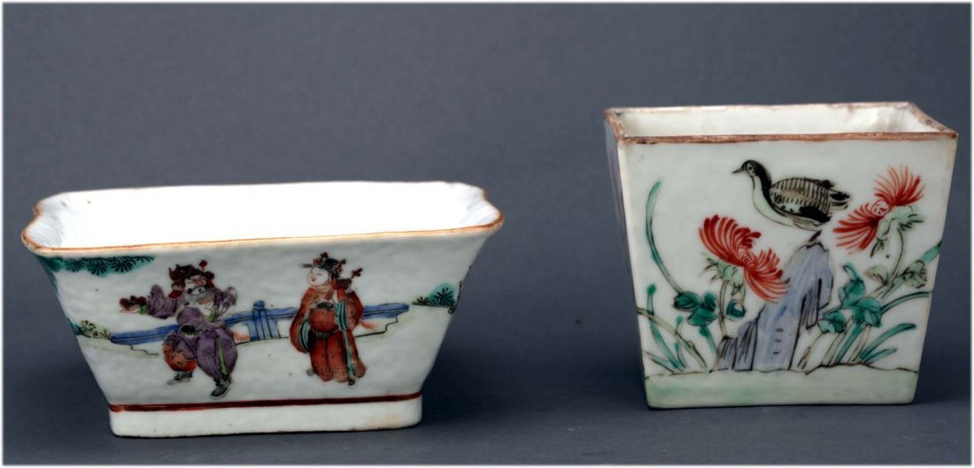 Two Chinese Antique Porcelain Famille Rose planters