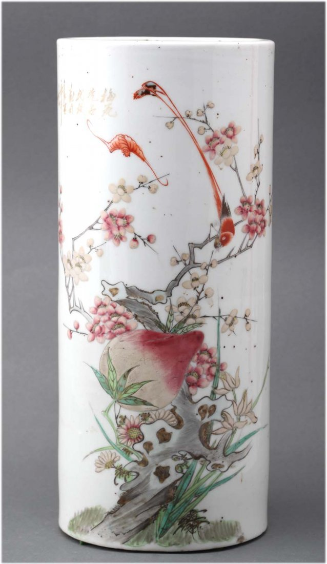 Chinese antique famille rose porcelain hat stand