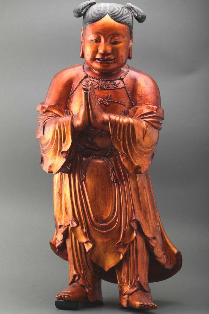 """Chinese antique gilt wood figure 24"""" Tall"""