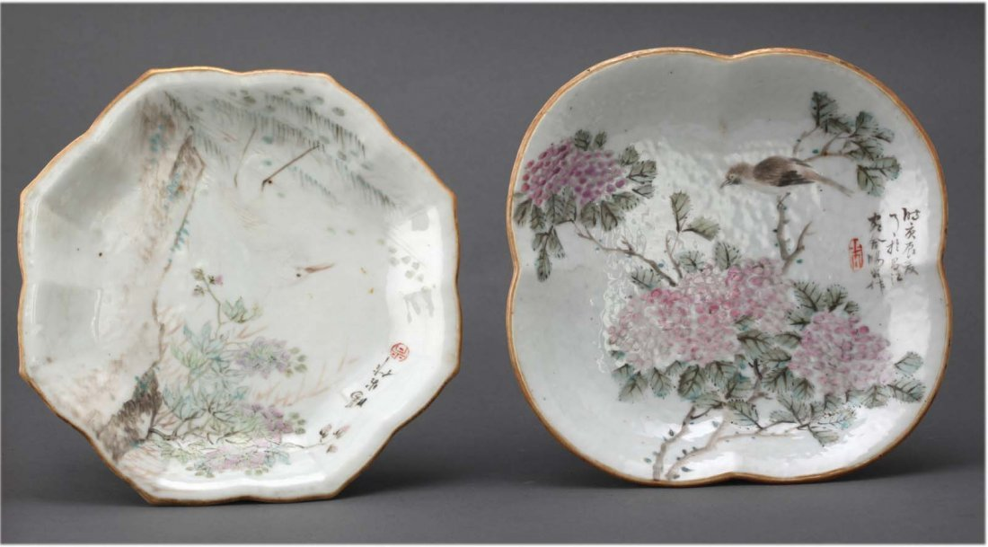 Two Chinese famille rose antique porcelain dishes