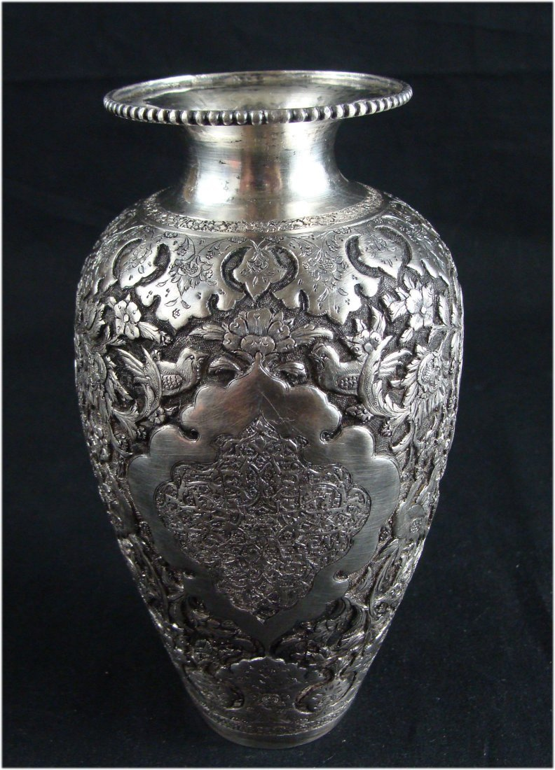 Antique Persian Silver Engraved Vase Signed