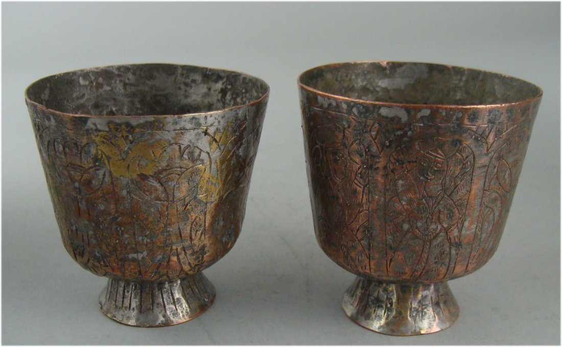Pair of Antique Copper cups over 100 years old